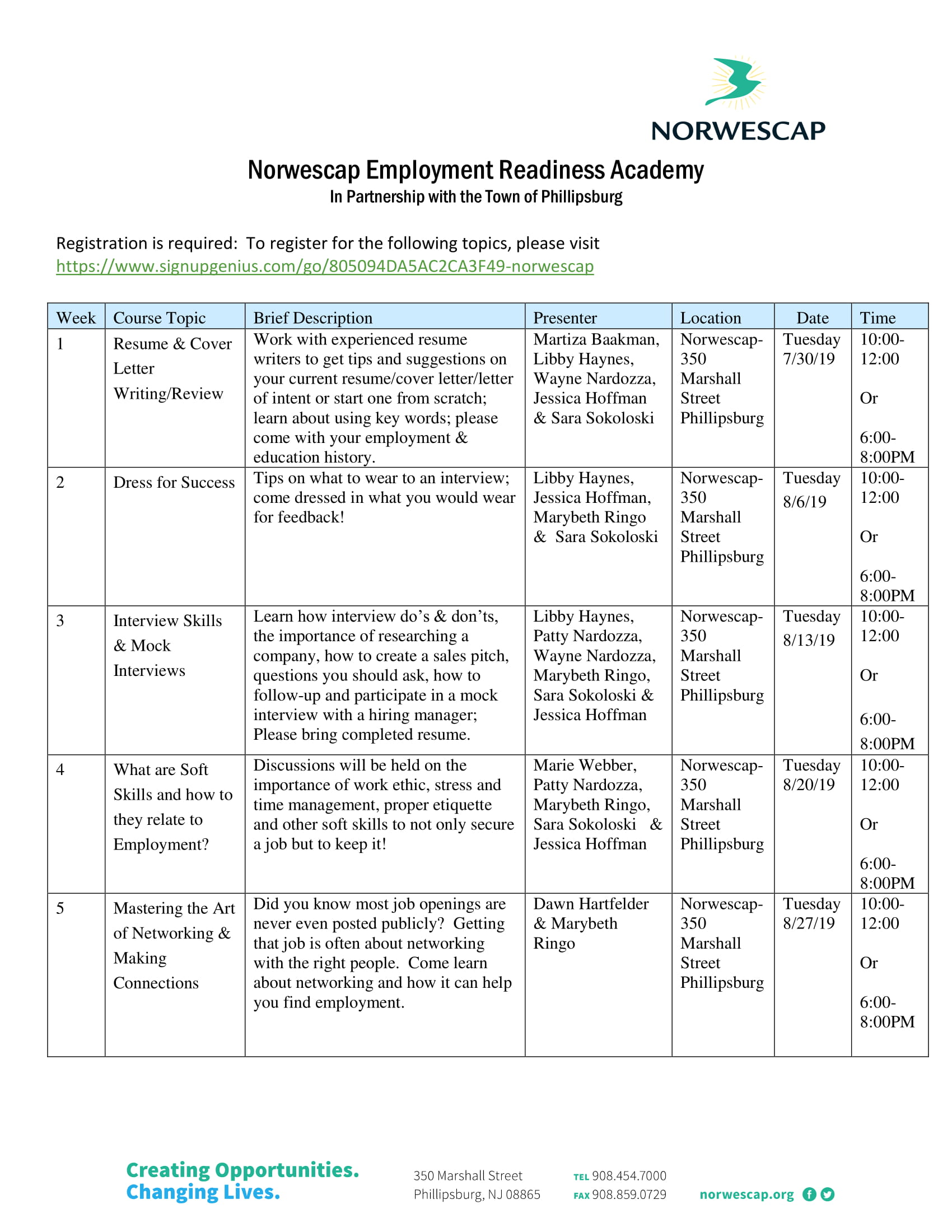 Employment Readiness Academy: Resume & Cover Letter Writing